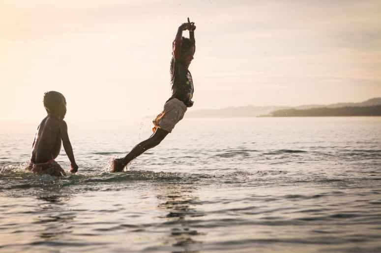 sea sunset ocean playing